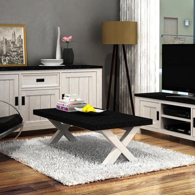 Nouvomeuble Table basse blanc et gris contemporaine Etienne