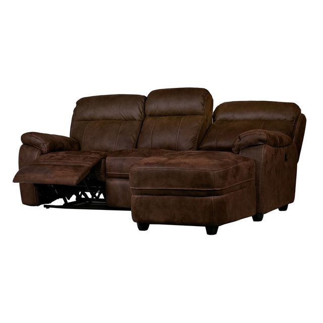 house bay canap d 39 angle de relaxation en microfibre effet vieilli baltimore droit marron. Black Bedroom Furniture Sets. Home Design Ideas
