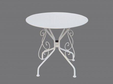 MARQUE GENERIQUE - Table de jardin en fer forgé GUERMANTES - blanc ...