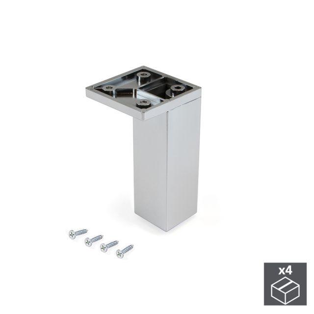Emuca Pied pour meubles, coin, réglable 100 - 110 mm, Plastique, Chromé, 4 u