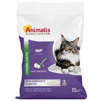 Animalis - Litière Agglomérante Blanche pour Chat 15L