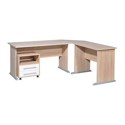 bureau d 39 angle avec caisson blanc et bois naturel atelier du mercredi. Black Bedroom Furniture Sets. Home Design Ideas