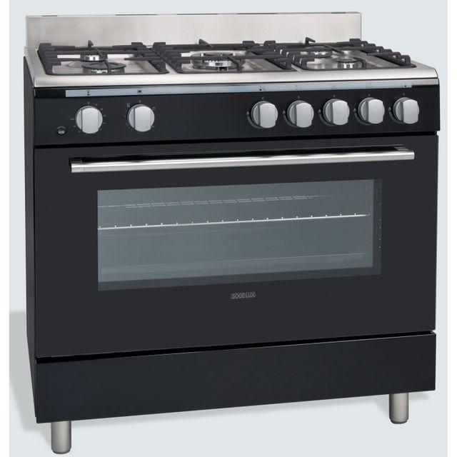Sogelux Cuisinière à gaz piano de cuisson Cg9060N Noire