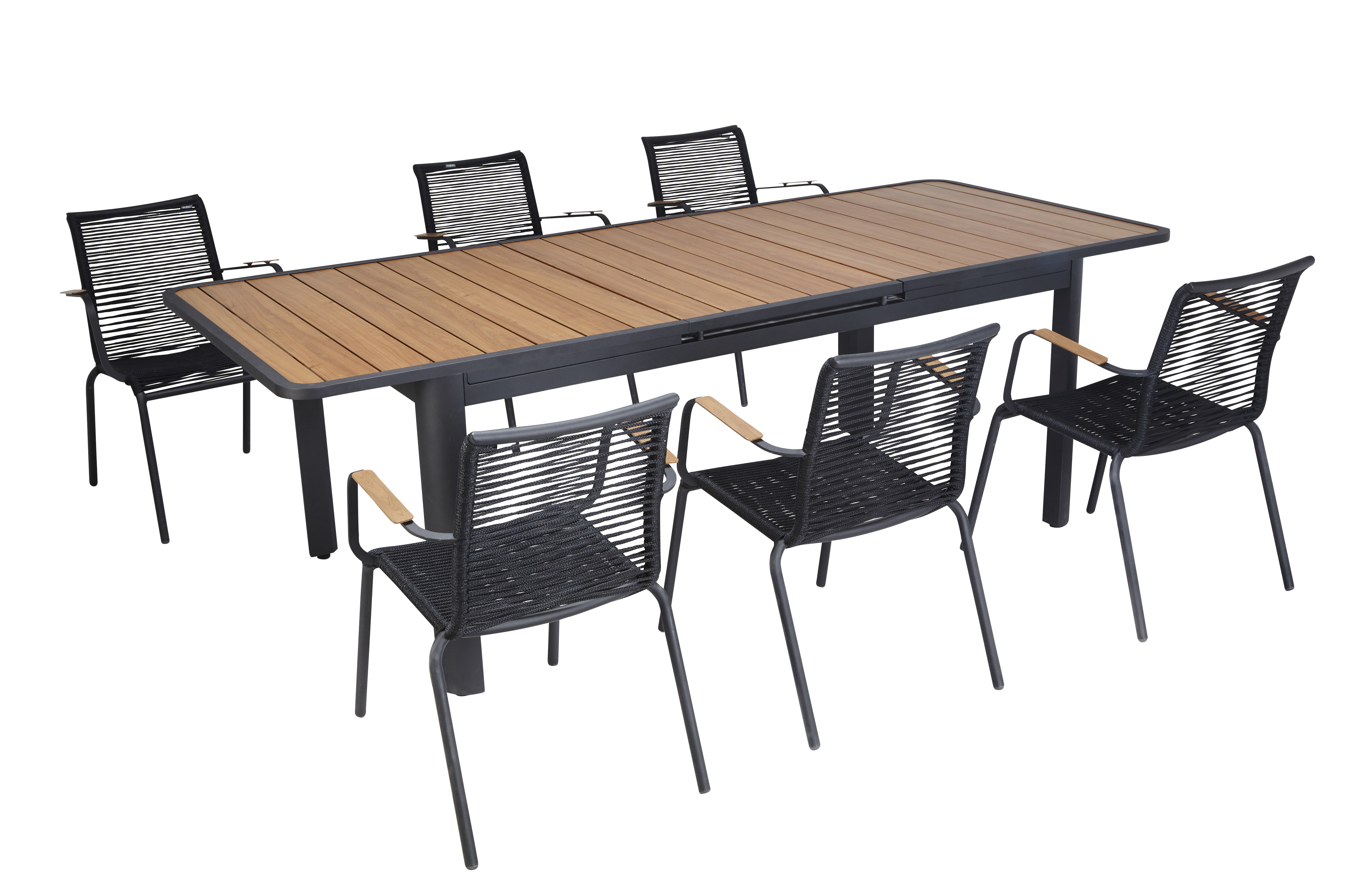Hyba table jardin siena allonge auto noir noir et - Table de jardin extensible imitation bois ...