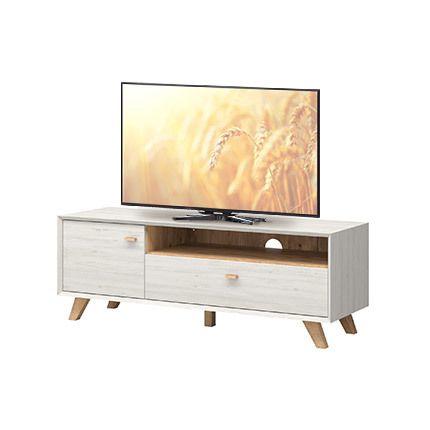 Meuble télé pieds inclinés 141x50x45cm - coloris chêne et blanc