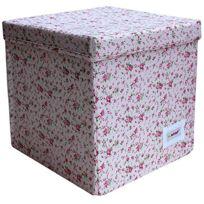 Minene - Cube De Rangement Motif Fleurs