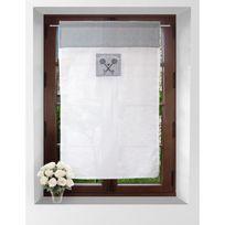 Soleil D Ocre - Soleil D'OCRE Brise-bise Ericka 100% coton 60x90 cm gris et blanc