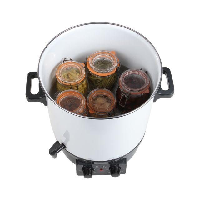 DOMOCLIP Stérilisateur à bocaux électrique DOM334 Stérilisateur à bocaux électrique - Capacité de 27 L - Cuve en acier émaillé - Thermostat réglable de 60 à 100°C - Minuterie réglable jusq