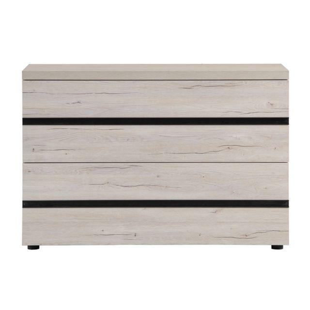 Tousmesmeubles Commode 3 tiroirs Chêne cérusé blanc - Mara - L 110 x l 46 x H 76