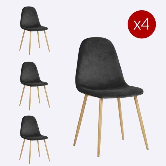 meubler design lot de 4 chaises scandinaves charlton couleurs noir velours - Chaises Scandinaves Couleur