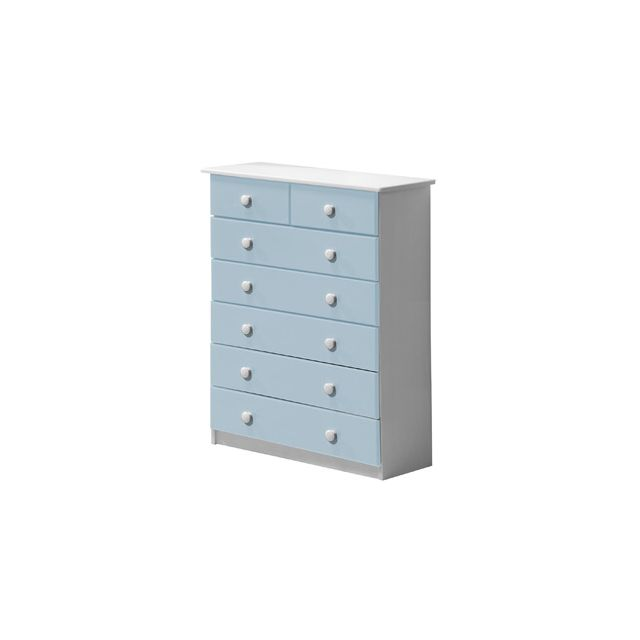 Commode Verona 7 tiroirs coloris blanc et bleu clair