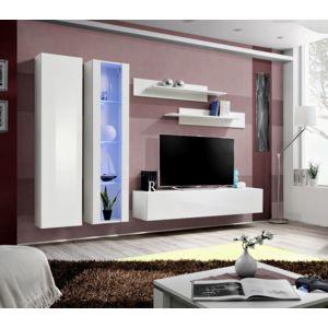 Asm mdlt ensemble meuble tv mural fly a blanc avec led for Meuble tv suspendu fly