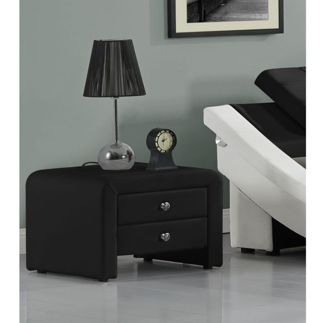 import diffusion table de chevet simili noir 2 tiroirs sara pas cher achat vente chevet. Black Bedroom Furniture Sets. Home Design Ideas