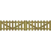 Rocambolesk - Superbe portail piquet en bois imprégné 2 pcs 300 x 60 cm neuf