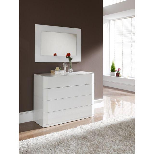 Ma Maison Mes Tendances Commode 4 tiroirs en bois laqué brillant blanc Coco - L 110 x l 42 x H 85
