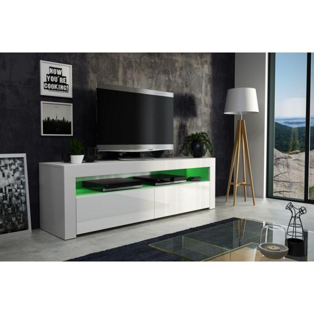 Dusine Meuble Tv Savelli Led Blanc Mat et portes Blanc laqué 157 cm