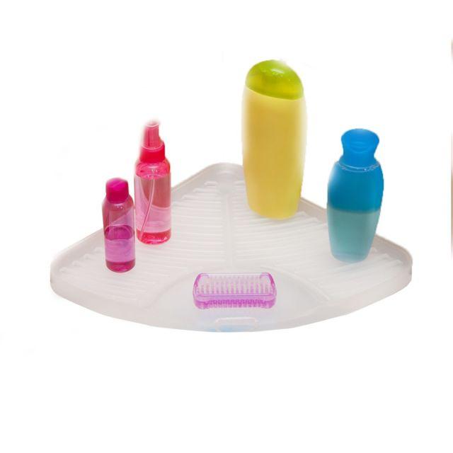 Calicosy tablette d 39 angle baignoire ventouse blanc pas cher achat vente accessoires de - Tablette d angle salle de bain ...