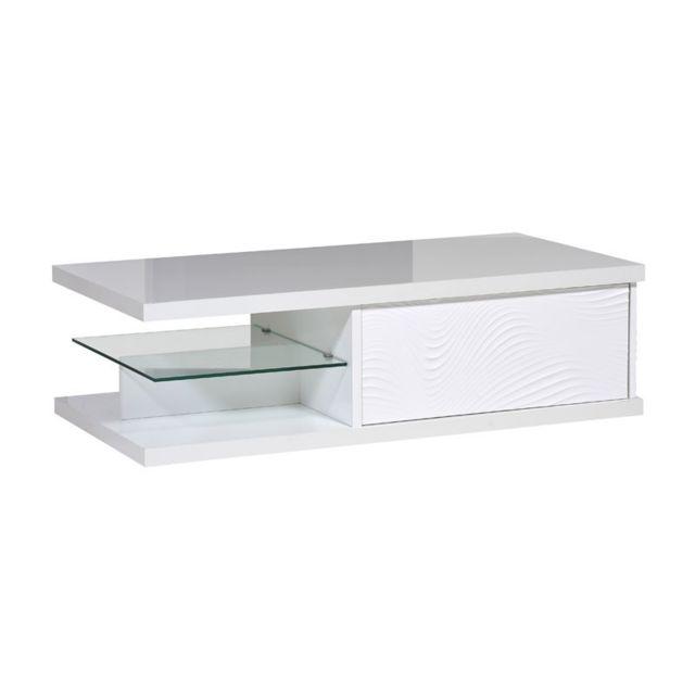 Tousmesmeubles Table basse 1 tiroir Laqué Blanc - Marks