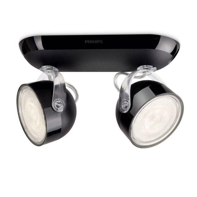 Philips Barre double spots Led orientables longueur 20.3cm Dyna - Noir