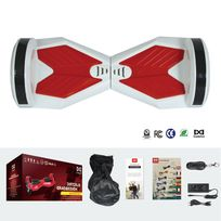 COOL&FUN Hoverboard Bluetooth,Scooter électrique Auto-équilibrage,gyropode connecté 8 pouces Blanc Rouge