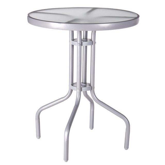 Table de jardin ronde 60cm en verre et fer gris Teruel - L 60 x l 60 x H 71