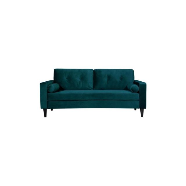 Sans Marque Ibra Velvet Canape Droit Fixe 3 Places - Velours Bleu - Classique - L 181 X P 82,5 Cm