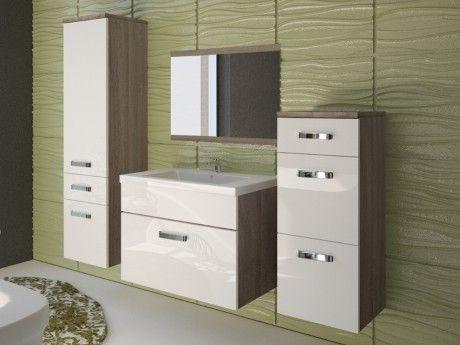 Shower Design Ensemble Nassau - meubles de salle de bain - laqué blanc et bois marron