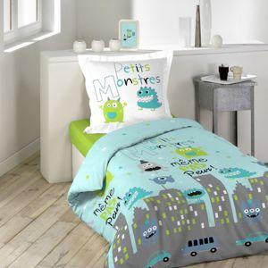 douceur d 39 interieur housse de couette petits monstres 140x200cm 100 coton bleu vert gris. Black Bedroom Furniture Sets. Home Design Ideas