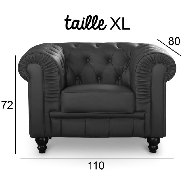 MENZZO Grand fauteuil Chesterfield Noir