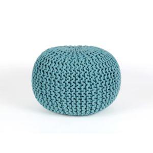 Today - Pouf rond en laine tricotée D.45 x H.30cm Wabi Sabi - Bleu neptune