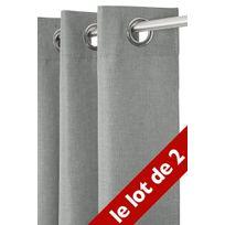 Le Linge De Jules - Lot de 2 Rideaux Unis 140x240 cm Gris