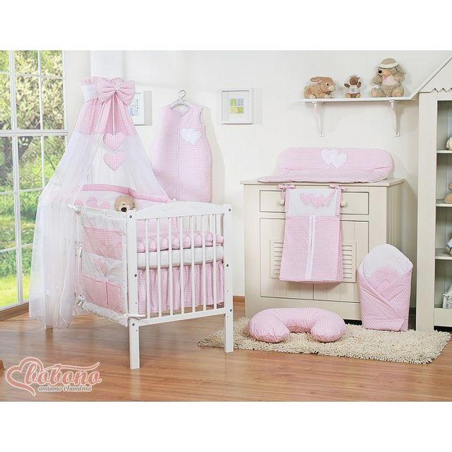 autre parure de lit b b deux coeurs rose et blanc vichy ciel de lit mousseline avec top coton. Black Bedroom Furniture Sets. Home Design Ideas