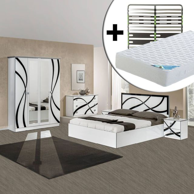 Altobuy Sylla - Chambre Complète 160x200cm + Sommier AltoZone + Matelas Maldives