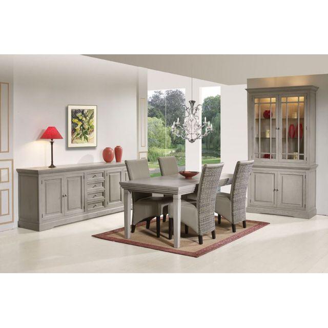 comforium ensemble salle manger compl te en bois massif coloris sahara avec table extensible. Black Bedroom Furniture Sets. Home Design Ideas