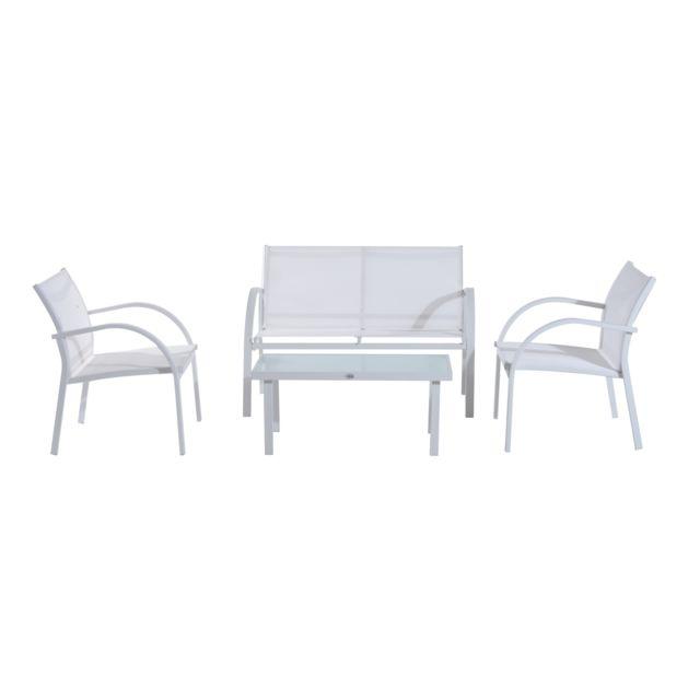 OUTSUNNY Ensemble salon de jardin design 4 places : canapé, 2 fauteuils et table basse plateau verre trempé métal textilène blanc