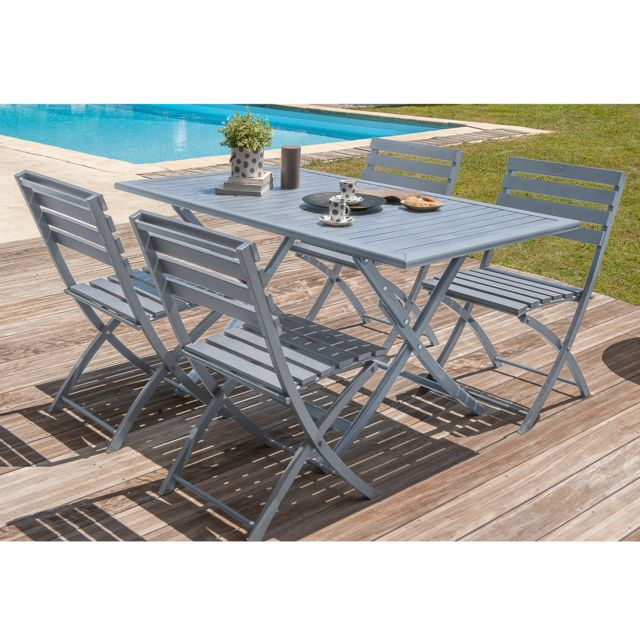 Dcb Garden - Salon de jardin 4 places: table pliante aluminium avec ...