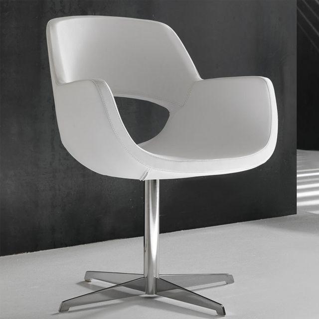 Nouvomeuble Fauteuil design en tissu blanc Adina
