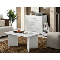 Asm-mdlt - Table basse laminée blanche rectangulaire Nano 90x45x60 cm