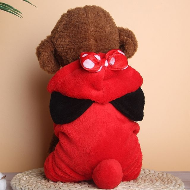 Wewoo Automne et hiver plus peluche chaude à capuchon velours mignon vêtements à quatre pattes Pettaille Xs rouge