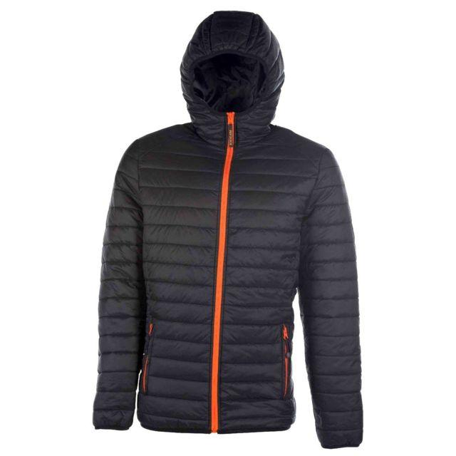 Fashion Cuir Doudoune legere avec capuche Taille Homme - 3XL, Couleur - noir