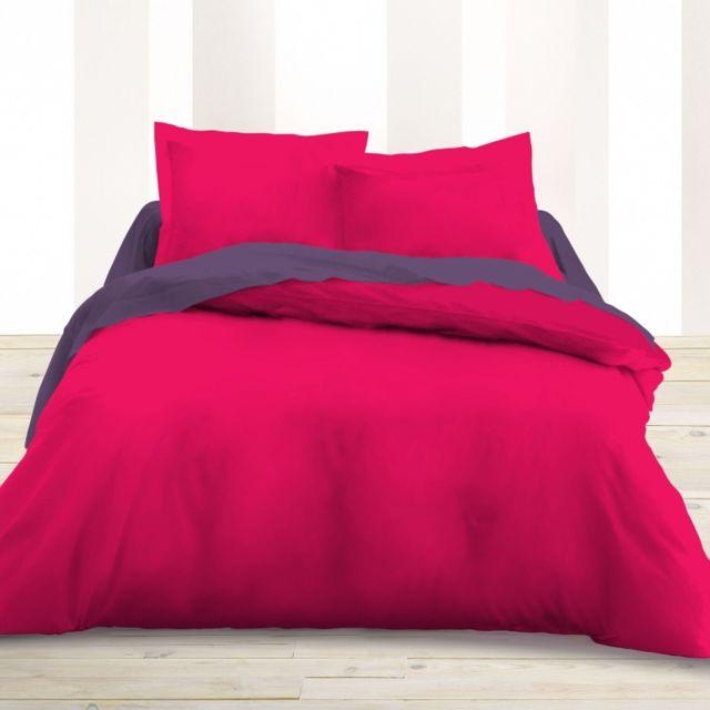 univers decor housse de couette 220 x 240 unie rose fushia 100 coton 57 fils cm 220cm x. Black Bedroom Furniture Sets. Home Design Ideas