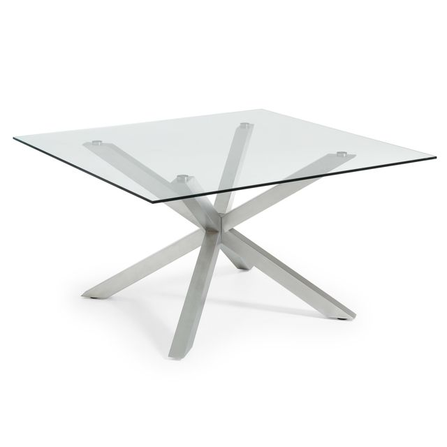 Kavehome Table New Argo-C 149x149, Inox Mat Verre Transparent
