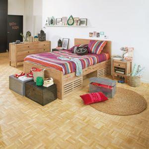 alin a gaia chambre lit en acacia avec rangements 160x200cm pas cher achat vente. Black Bedroom Furniture Sets. Home Design Ideas