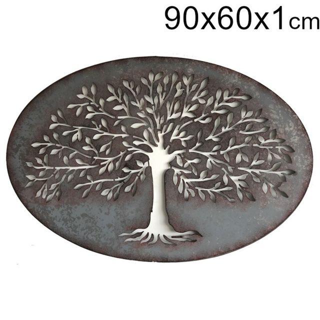 Chemin De Campagne 90 cm x 60 cm Fronton Murale Métal Fer Décoration Ovale Arbre Zinc