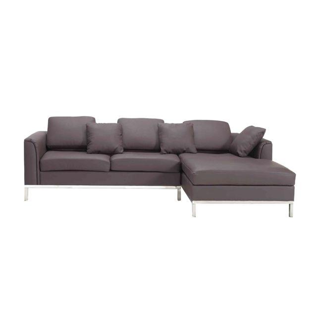 BELIANI Canapé d'angle gauche en cuir marron OSLO