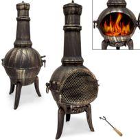 Rocambolesk - Superbe Cheminée d'extérieur en fonte Bbq Grill brasero mexicain grill Barbecue 112 cm Neuf