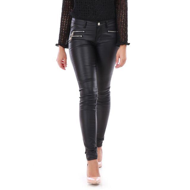 41f01ea59e17 Lamodeuse - Jeans slim enduit noir avec zips - pas cher Achat ...