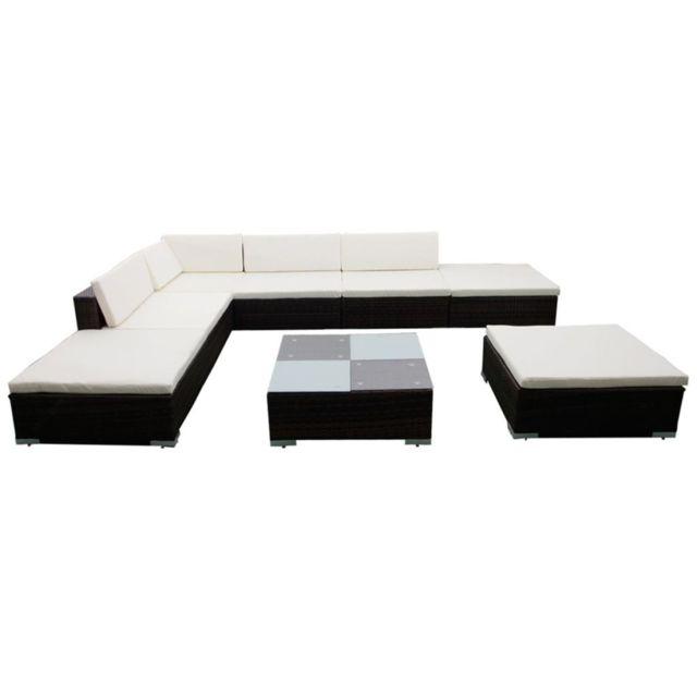 Icaverne - Ensembles de meubles d'extérieur selection Jeu de meuble de jardin 20 pcs Marron Résine tressée