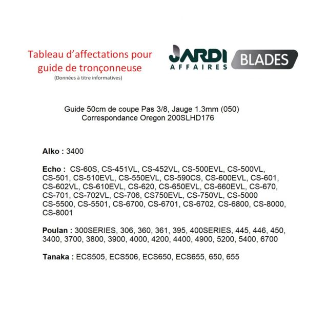 Guide chaine Pro 45cm Pas 3//8 21-68E Jauge 1,5mm 68E = 188SLHD009