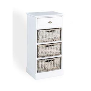 Topdeco chiffonnier blanc 4 tiroirs bois osier pas cher achat vente colonne de salle de for Colonne bois salle de bain pas cher